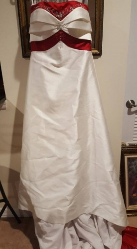 Wedding Dress with Red Trim